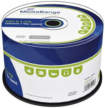 DVD-R MEDIARANGE 4.7GB 120MIN 16X SPEED CAKE 50 50 Stuk