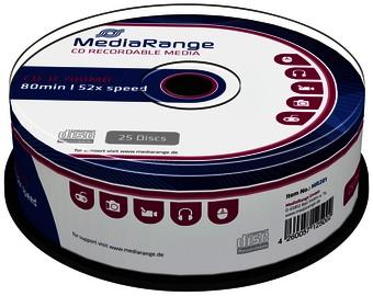 CD-R MEDIARANGE 700MB 80MIN 52X SPEED CAKE 25 25 STUK