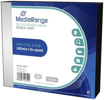 DVD+R MEDIARANGE DL 8.5GB SLIMCASE PACK 5 5 Stuk