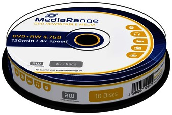 DVD+RW MEDIARANGE 4.7GB REWRITABLE CAKE 10 10 STUK