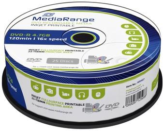 DVD-R MEDIARANGE 4.7GB INKJET PRINTABLE CAKE 25 25 Stuk