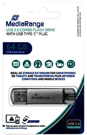 USB-STICK MEDIARANGE 2 IN 1 USB-C 3.0 64GB 1 STUK