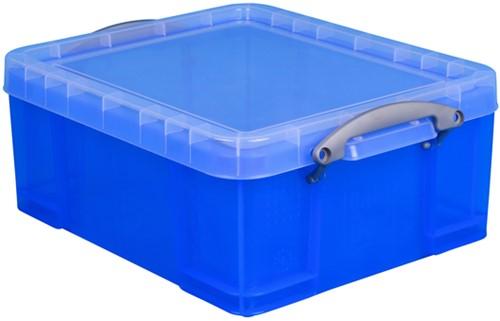 Opbergbox RUB 18 ltr 480x390x200mm transp blauw 1 Stuk