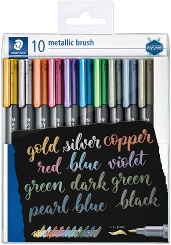 Brushpen Staedtler metallic etui à 10 kleuren 10 Stuk