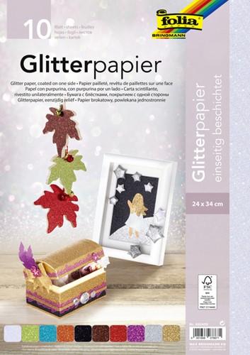 GLITTER PAPIER FOLIA 24X34CM 170GR 10 Vel