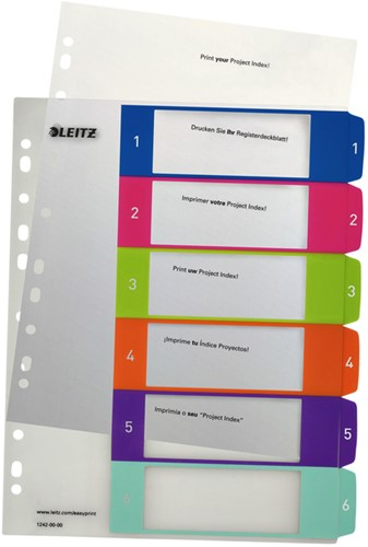 TABBLAD LEITZ WOW INDEX PRINT PP A4+ 1-6 1 SET