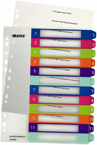 TABBLAD LEITZ WOW INDEX PRINT PP A4+ 1-12 1 SET