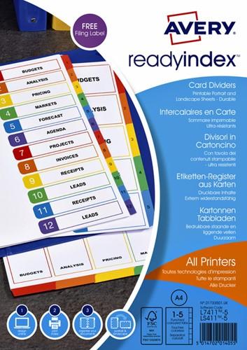 TABBLADEN AVERY READYINDEX A4 4R 5DLG 1 SET