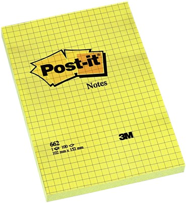 MEMOBLOK 3M POST-IT 662YEL RUIT 102X152MM GEEL 100 VEL