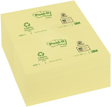 MEMOBLOK 3M POST-IT 655 76X127MM RECY GEEL 100 VEL