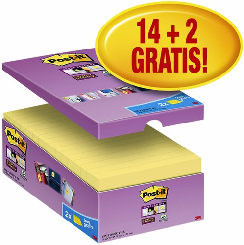 MEMOBLOK 3M POST-IT 655 76X127MM SS GEEL 16 STUK
