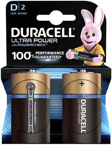 BATTERIJ DURACELL D ULTRA POWER MX1300 ALKALINE 2 STUK