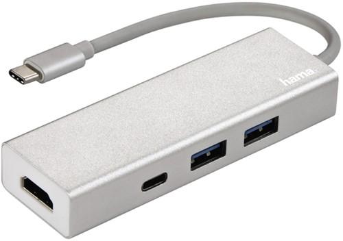 HUB HAMA USB-C 3.1 1:3 2X USB-A 1X USB-C HDMI ALU 1 Stuk