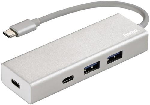 HUB HAMA USB-C 3.1 1:4 2 X USB-A 2 X USB-C ALU 1 Stuk
