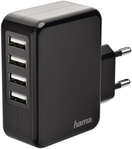 OPLADER HAMA USB-A 4X 4.8A ZWART 1 Stuk