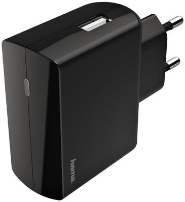 OPLADER HAMA USB-A 1X 2.4A ZWART 1 Stuk