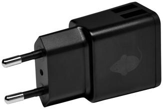 OPLADER GREENMOUSE USB-A 2X 2.4A ZWART 1 Stuk