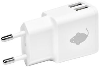 OPLADER GREENMOUSE USB-A 2X 2.4A WIT 1 Stuk