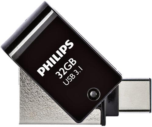 USB-STICK PHILIPS 2 IN 1 USB-C 3.1 32GB ZWART 1 STUK
