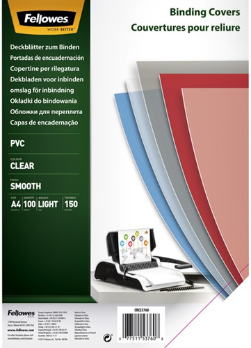 VOORBLAD FELLOWES A4 PVC 150MICRON TRANSPARANT 100 STUK