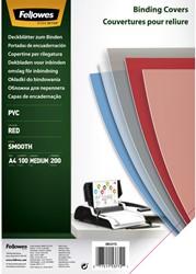 VOORBLAD FELLOWES A4 PVC 200MICRON TRANSPARANT ROOD 100 STUK
