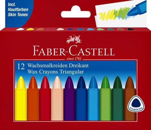 WASKRIJT FABER CASTELL DRIEHOEKIG ASS 12 Stuk