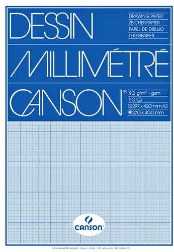 MILLIMETERBLOK CANSON A3 90GR BLAUW 50 VEL