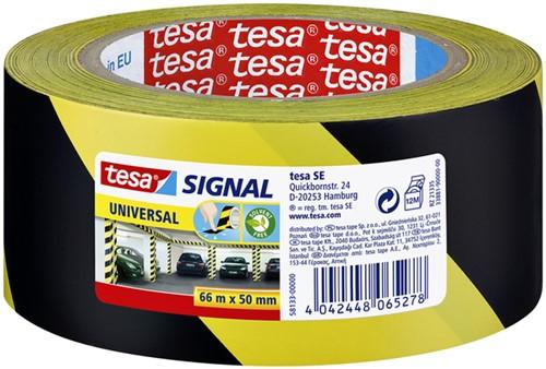 WAARSCHUWINGSTAPE TESA 58133 50MMX66M GEEL/ZWART 66 Meter