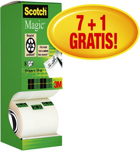 PLAKBAND 3M SCOTCH 810 19MMX33M MAGIC ONZICHTBAAR 8 Stuk