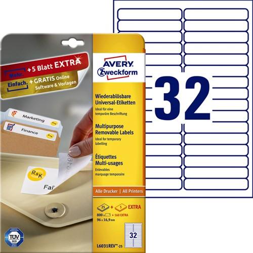 ETIKET AVERY ZWECK L6031REV-25 96X16.9MM 800ST 25 VEL