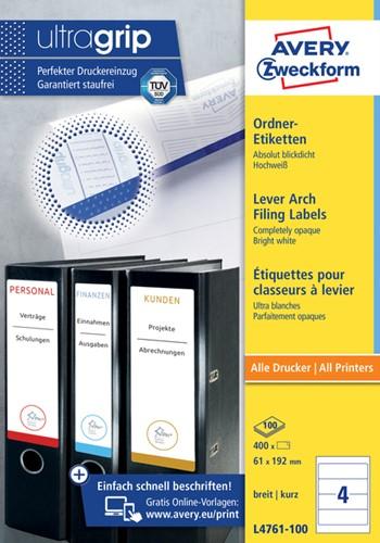 RUGETIKET AVERY ZWECK L4761-100 192X61MM 400ST 100 Vel