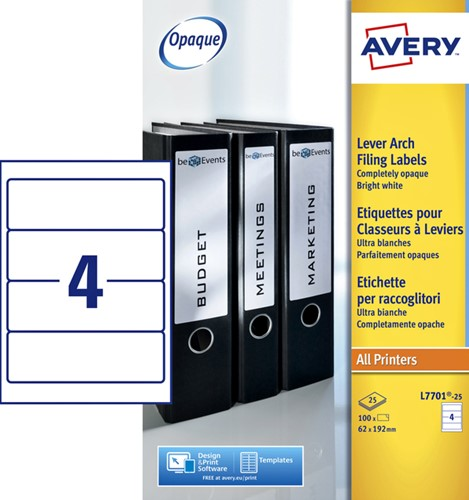 RUGETIKET AVERY L7701-25 192X62MM 100ST 25 Vel