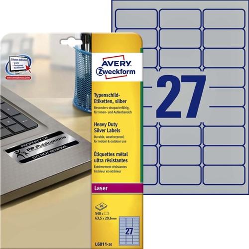 ETIKET AVERY L6011-20 63.5X29.6MM 540ST ZILVER 20 Vel