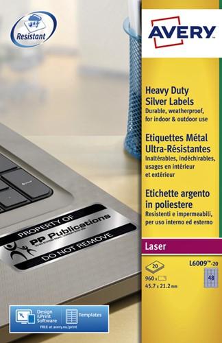 ETIKET AVERY L6009-20 45.7X21.2MM 960ST ZILVER 20 VEL-2