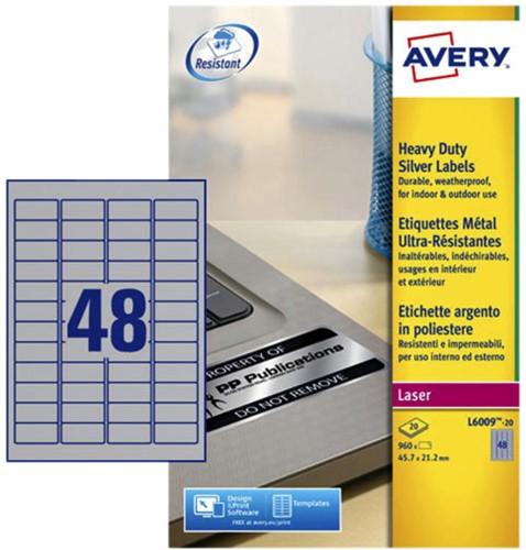 ETIKET AVERY L6009-20 45.7X21.2MM 960ST ZILVER 20 Vel