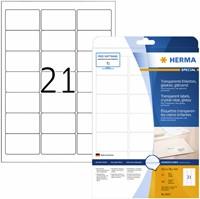 ETIKET HERMA 8017 63.5X38.1MM TRANSPARANT A4 525ST 25 VEL