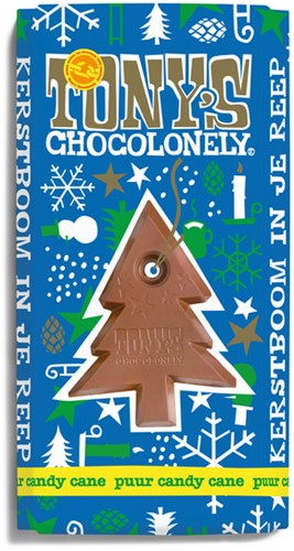 TONY'S CHOCOLONELY PUUR MINT CANDY CANE 180GR 1 STUK