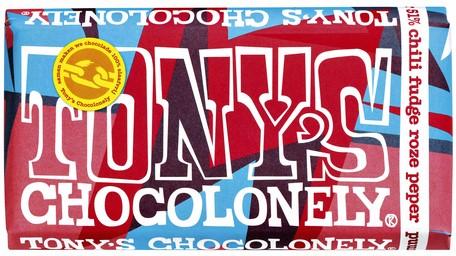TONY'S CHOCOLONELY PUUR CHILI FUDGE ROZE PEPER 180 GRAM