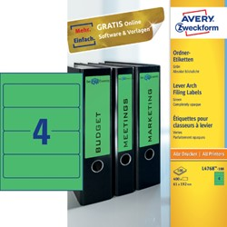 RUGETIKET AVERY ZWECK L4768-100 192X61MM 400ST GN 100 VEL