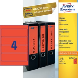 RUGETIKET AVERY ZWECK L4766-100 192X61MM 400ST RD 100 VEL