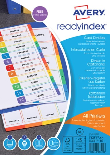 TABBLADEN AVERY READYINDEX A4 4R 10DLG 1 Set