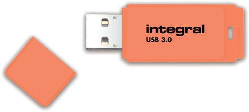 USB-STICK INTEGRAL 64GB 3.0 NEON ORANJE 1 Stuk