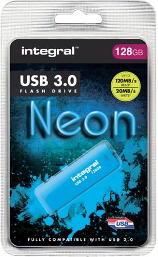 USB-STICK INTEGRAL 128GB 3.0 NEON BLAUW 1 STUK