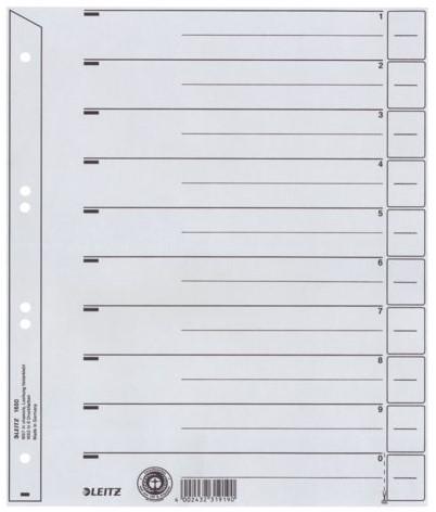 SCHEIDINGSBLADEN LEITZ 1650 KARTON A4 200GR GRIJS 100 STUK