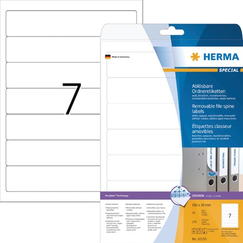 RUGETIKET HERMA MOVABLE 10155 192X38MM 175ST WIT 25 Vel