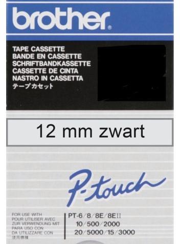 LABELTAPE BROTHER TC-101 12MMX8M TR/ZWART 1 STUK
