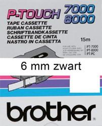 LABELTAPE BROTHER TX-211 6MMX8M WIT/ZWART 1 STUK