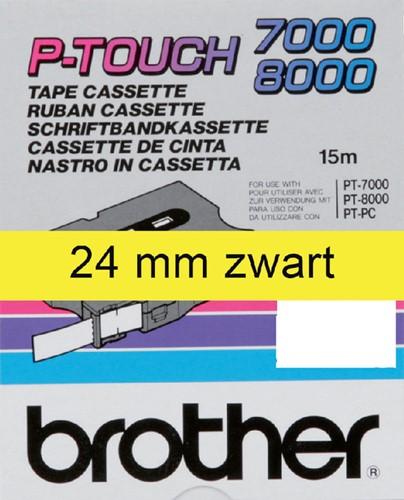 LABELTAPE BROTHER TX-651 24MMX8M GEEL/ZWART 1 Stuk