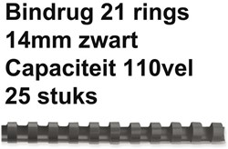 BINDRUG FELLOWES 14MM 21RINGS A4 ZWART 25 STUK