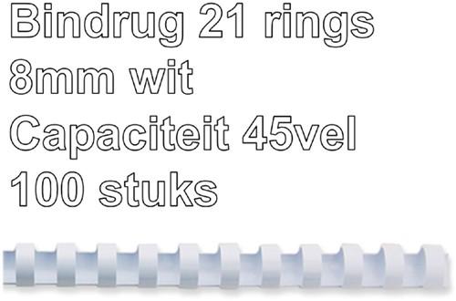 BINDRUG FELLOWES 8MM 21RINGS A4 WIT 100 Stuk